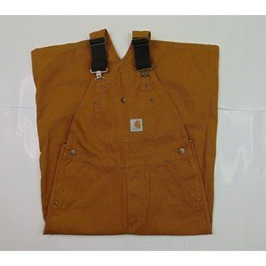 Carhartt Boys 8 Duck Canvas Bib Overalls Brown Double Front Utility Work